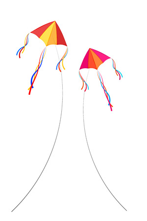 gleeful: Two kite. Colored Vector kites on a white background. Illustration of toys. The concept of  freedom. Stock vector
