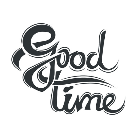 nostalgia: Good time lettering isolated on belm background. Design element - good time. Illustration nostalgia college days - good time. Vector illustration. Stock vector. Illustration