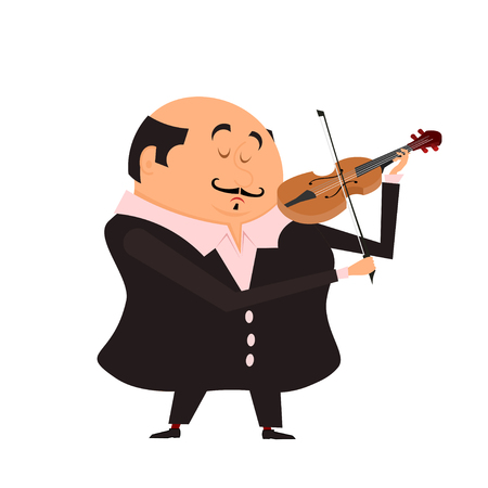 violinist: Cartoon violinist. The man playing the violin on a white background. Vektornayaya illustration of a musician on stage with his violin. Stock vector