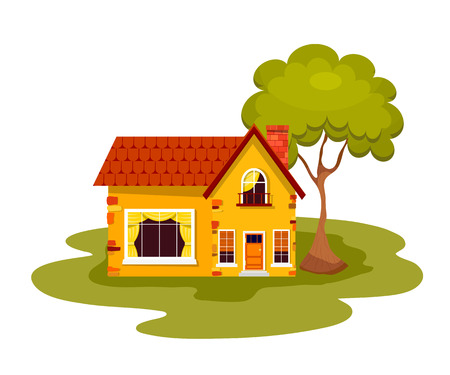 roof windows: Yellow stone house with green tree on a white background. Country house with a red roof,  windows, balcony  and chimney. Element of design, advertising. Vector illustration, icon.  Stock vector Illustration
