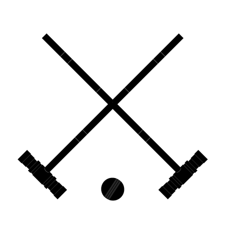 fitness ball: Black image the  hammers and ball. Hammers and the ball croquet on a white background.  Sign croquet sports. Sports equipment for croquet. Stock vectorcroquet. Stock vector