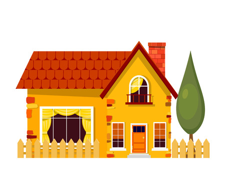rural home: Yellow house with poplars. Cartoon house with fence and green tree on a white background. Illustration of the cozy rural home, isolate. Stock vector
