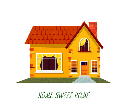 rural home: Yellow house. Cartoon house on a white background. Illustration of the cozy rural home,  isolate. Stock vector