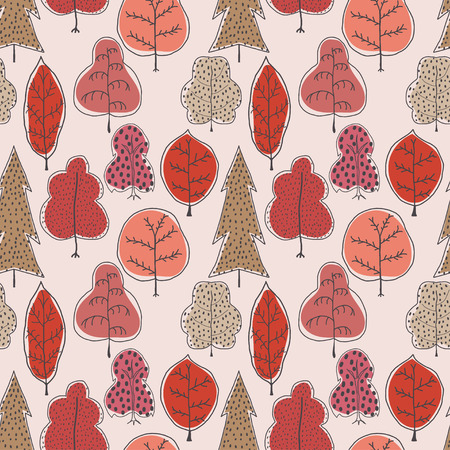 red trees: Seamless pattern with autumn trees. Seamless vector illustration with red trees. Easy editable pattern for your design, wallpaper, background. Hand drawing. Stock vector Illustration