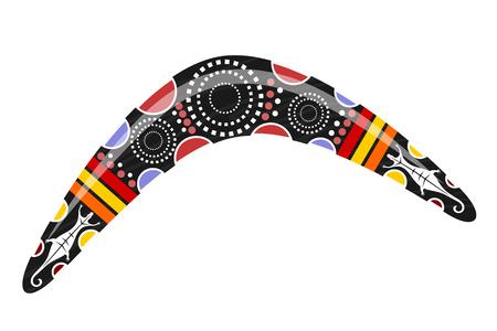 aboriginal art: Australian boomerang. Cartoon boomerang on a white background. Vector illustration of  colored boomerang Tribal lizard. Stock vector Illustration
