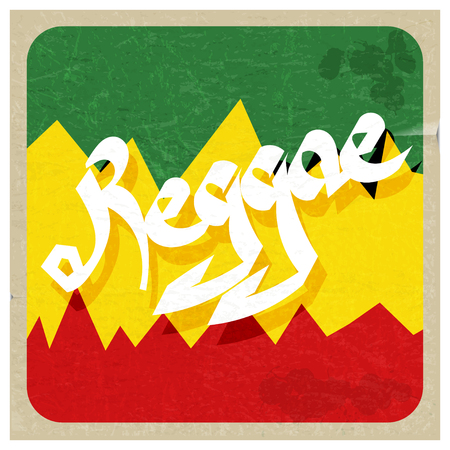 rastaman: Vintage poster reggae. Rastaman color poster with the word reggae. Abstract vector illustration of a music style reggae. Stock vector