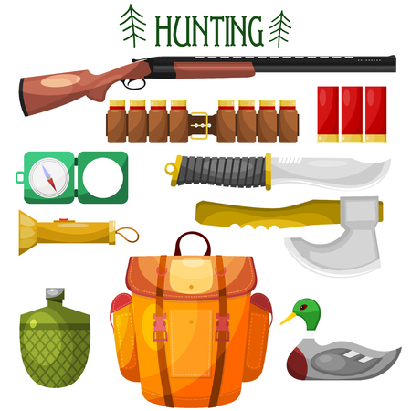cartridge: Hunting cartoon Icons. Set of vector cartoon icons of hunting. Illustration for hunting  objects: knife, an ax, backpack, gun, compass, cartridge, flashlight, water bottle, bait. Stock vector Illustration
