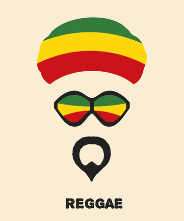 rastafarian: Abstract Rastaman mans face with a beard, glasses and colored beret. Icon reggae musical  style. Musical poster. Stock vector Illustration