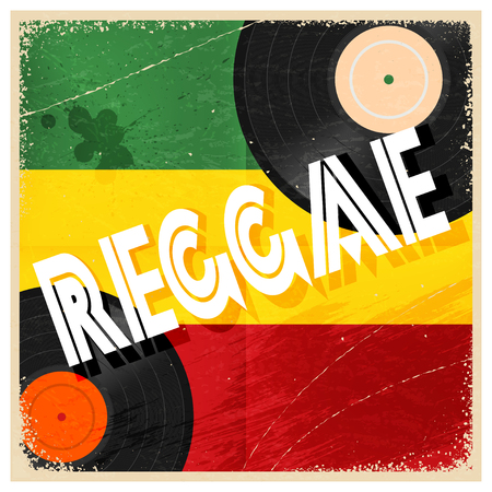 rastaman: Vintage poster reggae. Rastaman color poster with the word reggae and record music.  Abstract vector illustration of a music style reggae. Stock vector
