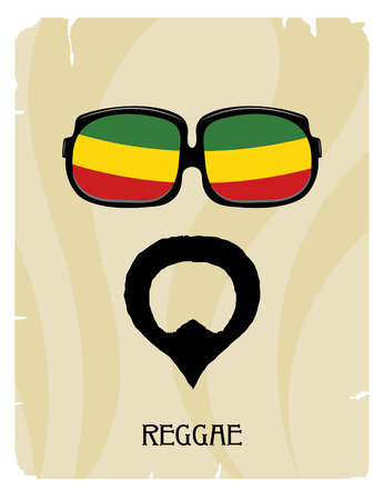 rastaman: Abstract Rastaman mans face with a beard and glasses. Icon reggae musical style. Musical  poster. Stock vector