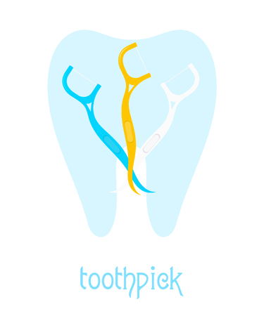 blue tooth: Set toothpicks against the blue tooth. Vector set of colored dental floss on a white  background. Illustration of tools for dental hygiene. Stock vector