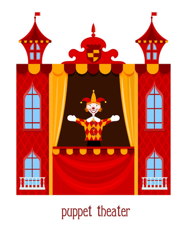 cartoon clown: Puppet show. Illustration of childrens puppet theater with a doll clown on a white  background. Cartoon vector a puppet theater. Stock vector Illustration