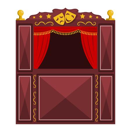 Los hijos de un teatro de marionetas sobre un fondo blanco. Ilustración vectorial de un espectáculo de marionetas con máscaras, aislar. estilo de dibujos animados. Stock vector
