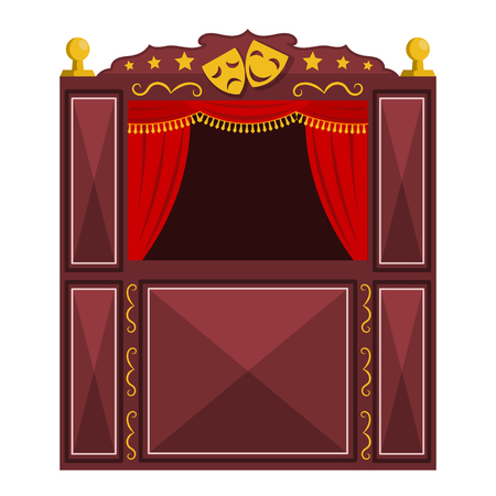 Childrens a puppet theater on a white background. Vector illustration of a puppet show with masks, isolate. Cartoon style. Stock vector