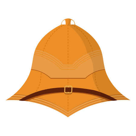 expeditionary: Illustration cartoon cork helmet on a white background. Isolate. Element uniforms for travel  to the tropics. Stock vector