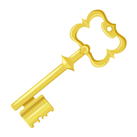 passkey: Vector illustration of vintage gold key on a white background. Cartoon style. Retro object for  your design. Stock vector