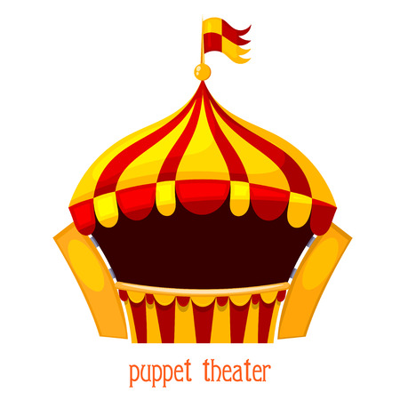 Bright a puppet theater on a white background. Vector illustration of a puppet theater with  open curtains. Cartoon style. Stock vector Illustration