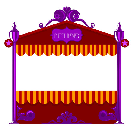 popular tale: Puppet theater on a white background. Vector illustration of a puppet theater. Cartoon style. Stock vector Illustration