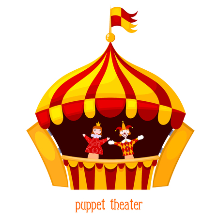 popular tale: Bright a puppet theater on a white background. Vector illustration of a puppet theater with open scenes and dolls. Cartoon style. Stock vector