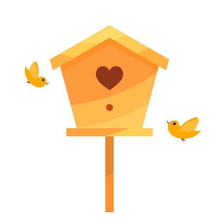 two birds: Yellow Cartoon birdhouse on a white background with two birds. Isolate. Bird house with  the heart. Symbol of family happiness. Stock vector Illustration