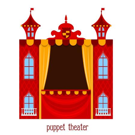 muneca vintage: Espectáculo de marionetas. Ilustración de teatro de títeres para niños sobre un fondo blanco. Vector de dibujos animados de un teatro de marionetas. Stock vector