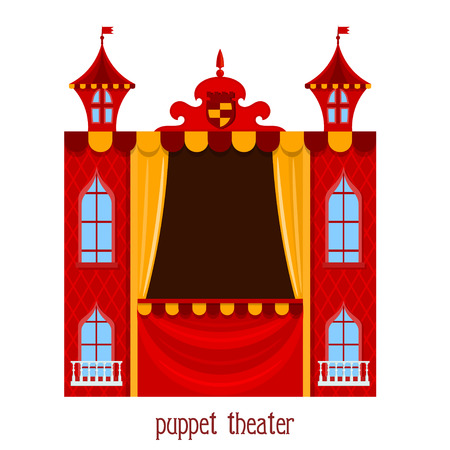 cartoon carnival: Puppet show. Illustration of childrens puppet theater on a white background. Cartoon vector a puppet theater. Stock vector