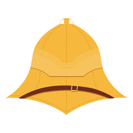 expeditionary: Illustration cork helmet on a white background. Isolate. Element uniforms for travel to the tropics. Stock vector