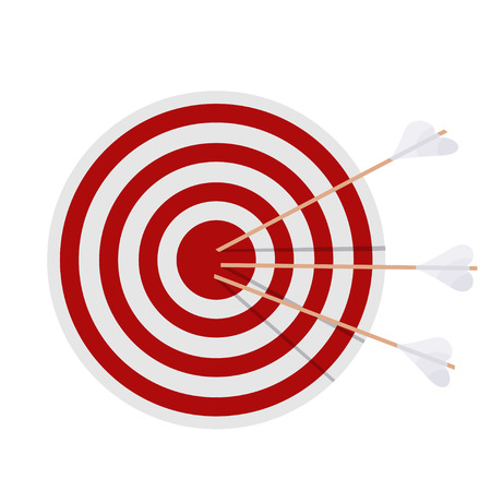 achievement concept: Target with arrows on white background. Cartoon illustration of a target, which was struck  by three arrows. Stock vector illustration