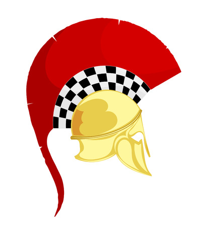 hoplite: Illustration of the ancient Greek bronze helmet with a red crest on white background. Vintage design object for the historic site. Stock vector