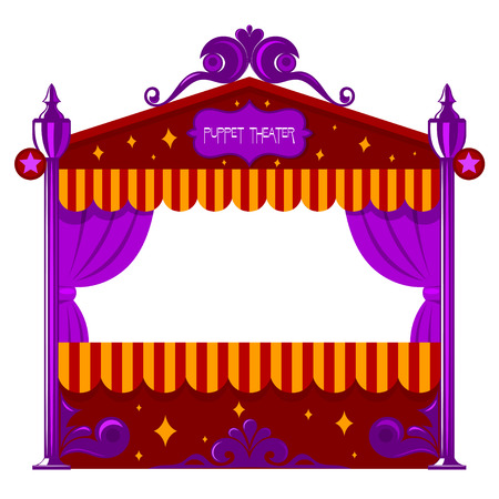 toy story: Purple childrens a puppet theater on a white background. Vector illustration of a puppet  show, isolate. Cartoon style. Stock vector