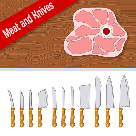 raw meat: Line style. Set of knives with wooden handle for cutting meat on a white background. Steak  of raw meat on a wooden surface. Stock vector illustration
