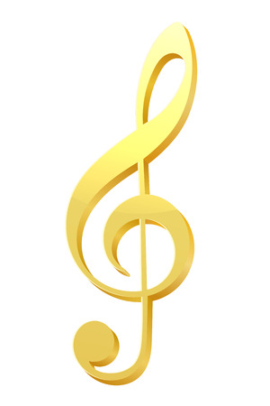trill: Music key. Illustration of violin music of the golden key on a white background. Sign of the  music, composer symbol. Stock vector