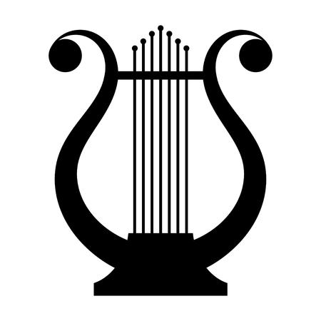 negro la imagen de un antiguo instrumento musical lira en un fondo blanco. Música. Vendimia. Ilustración vectorial material