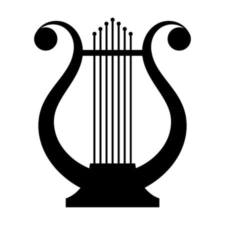 Black image of an ancient lyre musical instrument on a white background. Music. Vintage.  Stock vector illustration