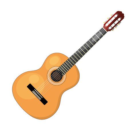 Musikinstrument - akustische Cartoon-Gitarre mit Saiten auf einem weißen Hintergrund. Isolierte Objekt. Vektor-Illustration