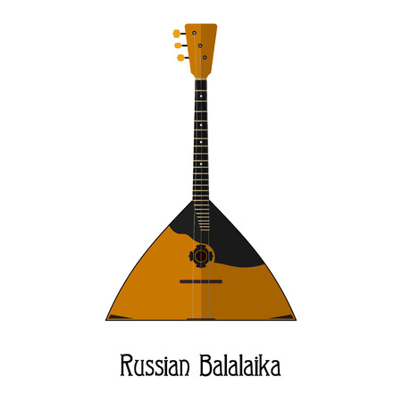 balalaika: The national Russian musical instrument on a white background. Balalaika. Flat style. Isolate. Subject of Russian culture. Stock vector illustration