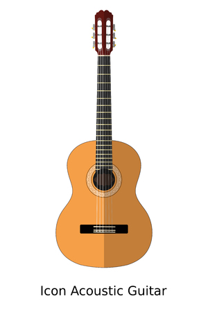 headstock: Icon simple acoustic guitar on a white background. Sign of music, musical instrument. Stock  vector illustration