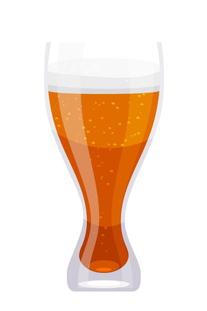 pub food: Tall glass Cartoon cup of beer on a white background. Isolate. Cartoon style. Food element  in a bar, pub. Stock vector illustration