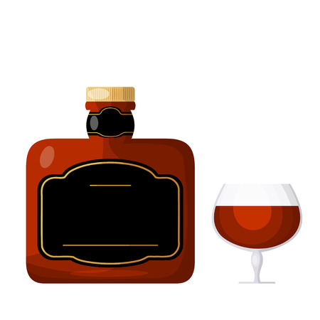 brandy: Cognac on a white background. A bottle of cognac or a glass of brandy. Isolate. Cartoon  style. Stock vector illustration