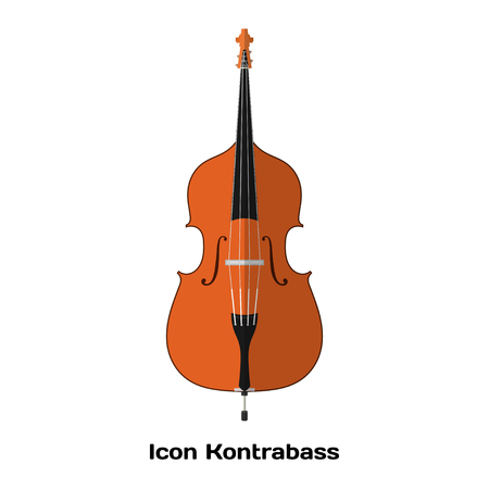 contrabass: Icon Double bass. Stringed Musical Instruments contrabass on a white background. Flat  style. Stock vector illustration