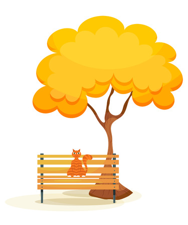 wooden bench: The cat on the bench. Ginger tabby cat on a wooden bench under autumn tree on a white  background. Autumn motive. Cartoon style. Stock vector illustration Illustration