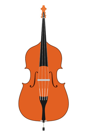 Double bass. Stringed Musical Instruments contrabass on a white background. Flat style.  Stock vector illustration