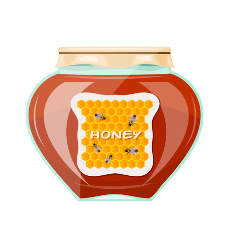 Vector illustration jars of honey on a white background. Isolate. Glass jar with a dark honey,  paper cover and label. Stock vector illustration Illustration