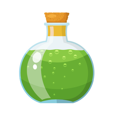 Glass bottle with cork stopper with a green liquid. The potion in a vial. Cartoon style. Stock vector illustration