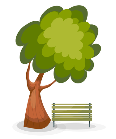 Tree and bench on a white background. Vector drawing of a green tree and a wooden bench  in the park. Cartoon style. Summer scene. Stock vector illustration