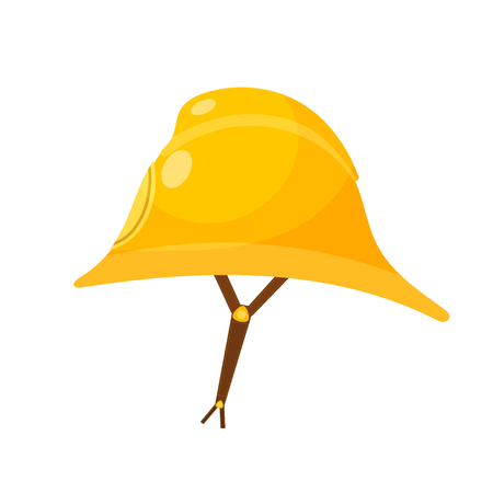 Yellow fireman helmet. Cartoon fireman helmet with a leather strap on a white background.  Elelement equipment fire brigade member. Head protection subject. Stock vector illustration