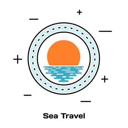 illuminator: Porthole ship and sunset on the water. Schematic illuminator. Line style art. Stock vector  illustration