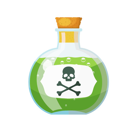 Glass bottle with cork stopper with a green liquid and a sign of skull and bones. The potion  in a vial. Cartoon style. Stock vector illustration Illustration