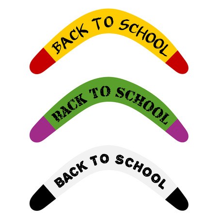 Set Australian boomerang Abstract image with the text. Back to school. Concept back to school in September. Illustration