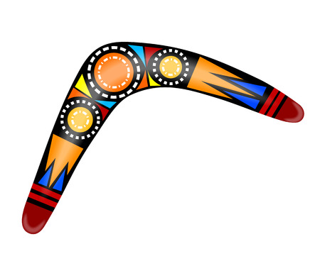 Australian boomerang. Cartoon boomerang on a white background. Vector illustration of  colored tribal weapon. Stock Illustratie